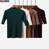 Nijiuding 2020 Новый вязаный тонкий пуловер женская водолазка вязаная свитер рубашка женская все-матч базовый половина рукава топы одежда LJ201126