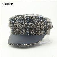 Winter Women Hat Fashion Vintage Tweed Hats Gold Thread Snapback Female Visor Octagonal Caps Baker Boy Beret Lolita