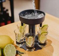 Yeni 6shot Cam Dispenser Tutucu Şarap Dağıtıcı Taşıyıcı Caddy Likör Dağıtıcı Parti İçecek İçme Oyunları Bar Kokteyl Şarap Pourer