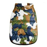 Camouflage плюс бархатная мягкая куртка теплый топ домашнее животное щенок щенка осенью зима теплая одежда 3 Size1