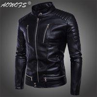 Aowofs Brand New Hot Homme haut, vestes en cuir, coupe-vent moto, personnalité de la tendance Locomotive Vêtements 201216