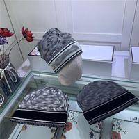 럭셔리 니트 겨울 디자이너 모자 여성 남성 따뜻한 비니 니트 모자 조수 거리 힙합 양모 모자 유니섹스 두개골 모자 상자
