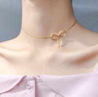 925 Sterlingsilber-Bogen-Knoten-Hals kurze Halskette Schmuck A2362