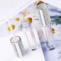 5ml diamant vide rond lèvre gloss tube haute qualité efface de lèvre plastique brillant récipients de remplissage bouteille conteneur de conditionnement cosmétique RRA3900