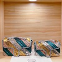 Bolso de hombro de cadena Mujeres Mensajero Bolso Bolso Moda de alta calidad Arco iris Lentejuelas de lentejuelas Color de Patchwork Color Sillones Envío Gratis