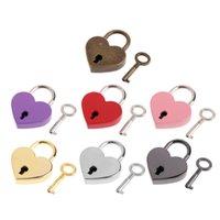 أقفال على شكل قلب خمر ميني الحب أقفال مع مفتاح حقيبة يد حقيبة الأمتعة الصغيرة حقيبة مذكرات FFA2698-2