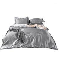 مجموعات الفراش 50 مجموعة الحرير الحرير النقي، المنسوجات المنزلية حجم الملك مجموعة سرير، أغطية السرير الأرجواني حاف الغطاء ورقة مسطحة وسادات بالجملة 1