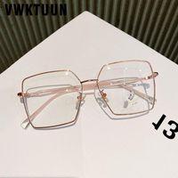 패션 선글라스 프레임 VWKTUUN 대형 눈 안경 여성 스퀘어 광학 금속 프레임 처방전 화려한 안경