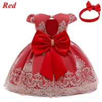 Newborn Baby Girls Red Merry Christmas Dress Toddler Kids 1 2 Years Birthday Party Lace Princess Costume Infant New Year Outfits Q1223