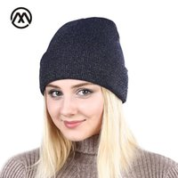 New shine gold silver hat Autumn Winter turban beanie Hat For Warm Women Casual Knitted Female Skullies Beanies Colorful cap