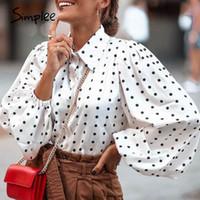 Simplee Fashion Dot 느슨한 여성 탑 버블 슬리브 시폰 긴 소매 셔츠 높은 거리 스타일 옷깃 탑 가을 겨울 201126