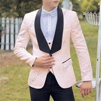 Gwenhwyfar Light Pink Jacquard Stoff Männer Blazer Jacke Zurück Vent Bräutigam Tuxedos Man Prom Business Anzüge (Jacke + Pants + Krawatte) 201105