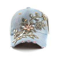 Lvtzj New Spring Denim Boné de Beisebol Cotton Chapéu de Verão Cap Strass Floral Hip Hop Bonés para Mulheres Moagem Multicolor LJ200917