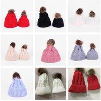 Paprent-child Twist Pom Pom Beanies Crochet Winter Hat Women Kids Children Cuffed Skull Caps Knitted Tuque Ski Slouchy Headwear E112002