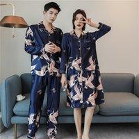 Caiyier de gran tamaño de invierno amantes del invierno pijamas conjunto seda suave pareja ropa de dormir manga larga hombres mujeres camisón camisón ropa M-4XL 201102