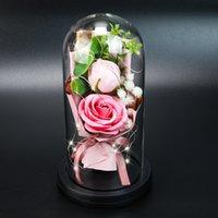 영원한 로즈 비누 꽃 유리 돔에서 빛을 잰 어머니의 날 발렌타인 데이 생일 선물 웨딩 장식 DDD4231