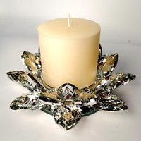 Mumluklar Kristal Lotus Cam Çiçek Işık Tutucu Şamdan Ev Dekorasyon Hediye Budist