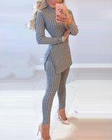2021 Женская повседневная вязать 2 частя наборы осень зима наряд с длинным рукавом свитер пуловер урожая вершина и брюки женский сексуальный набор