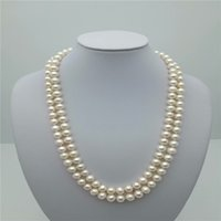 2 Reihen schöne AAA + 7-8mm natürliche weiße Perlenkette 17-18 Zoll 14k, 100% natürliche Perlenkette B1204