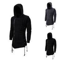 Attentäter Creed SweaterCoat Dark Tie Hooding Lose Mantel Reißverschluss Hoodie mit seitlichem Peitschen gekreuzte Schwarze dunkelgraue Hoodies Männer 201116