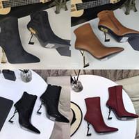Designer Frauen Echtes Leder Schaffell High Heels Mode Party Hochzeit Damen Schuhe Ferse Casual Black Winter Luxus Knöchelstiefel mit Box