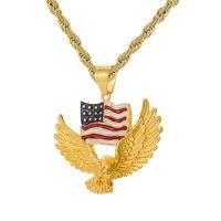 Haliaeetus Leucocephalus Flagge Anhänger Halskette USA Amerikanische Flagge Kristall und Amerikanische Flagge Eagle Pentagram Halskette Glory Halskette Geschenk