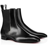 2020 Luxurys Designers Zapatos de hombres Botas inferior rojo Roadie plana para los hombres Botines Negro Gamuza marrón / las zapatillas de deporte de cuero pisos con cuadro