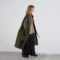 2019 SS جديد جمع التصميم الأصلي الجيش الأخضر المتضخم طويل غير متناظرة خليط خندق معطف المرأة 1