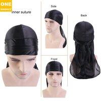 패션 솔리드 컬러 Bonnet 새틴 야간 수면 샤워 모자 머리 커버 랩 비니 두개골 모자 해적 모자 가짜 실크 세트 Durag Bonnt E122806