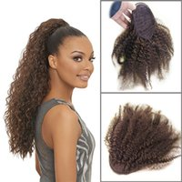 2021 Nouvelle extension de cheveux humains Queue de cheval Kinky Curly Cheveux Black Brown Blonde 10 couleurs Disponible 12-24inch Personnalisation d'usine pas cher
