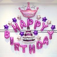16 pulgadas 13 unids / set Polka Dot Party Globos Alfabeto Letras Globos Feliz cumpleaños Fiesta Decoración de la fiesta de aluminio Balloon de la membrana HHE3412
