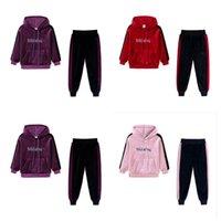Baby Girls Tracksuit Primavera otoño oro terciopelo trajes niños de manga larga con capucha pantalones de suéter de dos piezas Trajes deportivos G12803