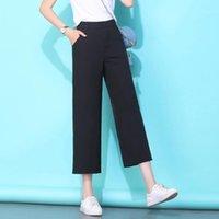 Pantalons Femmes Capris Casual Taille Haute Taille Noire Anké-Longueur Femmes Summer Loose Dames Bureau Pantalons Pocket Solod coréen mince pant
