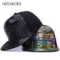 [Hatlander] Persönlichkeit Pailletten Baseballkappen Flache Krempe Outdoor Hüte Mädchen Junge Bling Punk Snapback Cap Jazz Rock Coole Hip Hop Cap Y1130