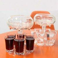 6 Shot Acrylic Dispenser Держатель Пластиковый Диспенсер для вина с чашками Винные стойки Охладитель Пивной Напиток Дозаторы Съемки Съемки Инструменты GGA3832