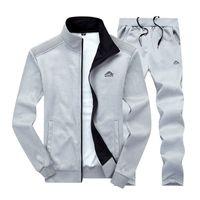 Spor Seti Marka Eğitim Spor Fitness Giyim Iki Parça Uzun Mouw Ceket + Broek Casual Erkek Parça Takım Elbise