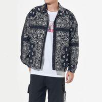 Padrão de Paisley de Bandana Imprimir Estilo Curto Windbreaker Casaco Casacos Streetwear Hip Hop Mens Casuais Casuais Tops