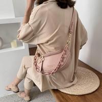 Damen Briefkette Eine Schulter Brust 2021 Neue Crossbody Bag PU-Leder Handtasche Wide Gürtel Japanische Handtasche SAC A