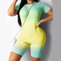 2020 frauen sport anzug 2 teile / satz neon top kurze hosen training kleidung trainingsanzug mode sommer outfit damen lässig 2 stück set