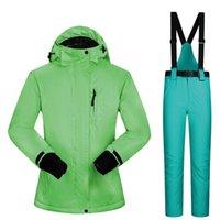 2021 New Ski Traje Mujeres Invierno A prueba de viento Impermeable Mujeres Impermeable Mujeres Snow Jacket Pantalones Calentar Ropa Snowboard Suits1