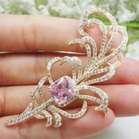 핀, 브로치 지르콘 크리스탈 클래식 핑크 공작 깃털 동물 여자의 브로치 핀 선물