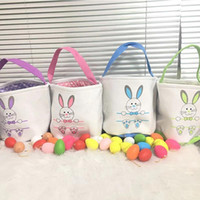 Livraison rapide Pâques Pâques Seau de toile Personnalisée Pâques Bunny Sacs-cadeaux Bunny Queue Tote Sac Mélange Fy4455