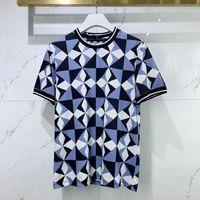 2021 여름 새로운 Fasion Mens 파란색과 흰색 인쇄 티셔츠 ~ 중국어 크기 Tshirts ~ 망 좋은 품질 디자이너 짧은 소매 티셔츠