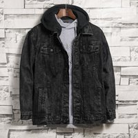 Jaquetas masculinas 2021 homens outono inverno retrô snowflake lavagem preta com capuz jean jaqueta streetwear motocicleta casual denim casaco outerwear1