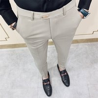 Casual Slim Fit Mens Dress Pantaloni Streetwear Suit Pantaloni uomo 34 Pantaloni da ufficio Gentlemen di alta qualità Uomo Tutti abbinati alla caviglia Lunghezza Y1114