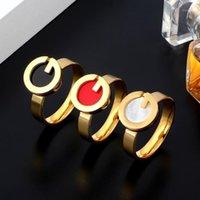 MSX Golden Bague en acier inoxydable Fashion Noir Rouge Blanc Résine Naturel Coquille Naturel Lettre G Mariage Bridal Finger Anneaux pour femmes1