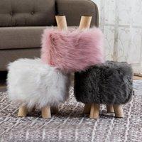 Chaise couvre tissu peluche ottomane couverture se repose-pied de laine artificielle en peau de mouton doux protecteur PO