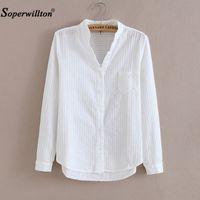 Soperwillton 100% algodão de alta qualidade Mulheres blusa camisa verão manga comprida sólida camisas femininas femininas casuais casuais tops 05 y200622
