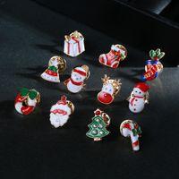 크리스마스 쥬얼리 에나멜 크리스마스 브로치 만화 산타 나무 눈사람 양말 브로치 핀 옷깃 핀 여성 아이들 패션 쥬얼리 윌과 샌디