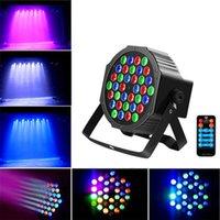 Новый дизайн 36W 36-LED RGB Remote / Auto / Sound Control DMX512 Высокая яркости Мини-диджей Бар Party Party Stage Wit * 4 Dimmable Be